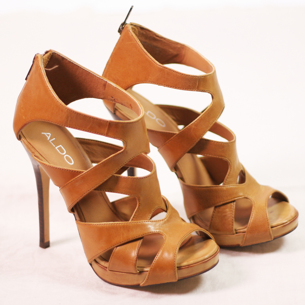 Natural Tan Leather Platform Gladiator Heels Size 39 or 8.5