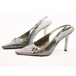 7129669ec8 BCBG Girls Moss Green Metallic Leather Slingback Pumps Heels Size 8.5
