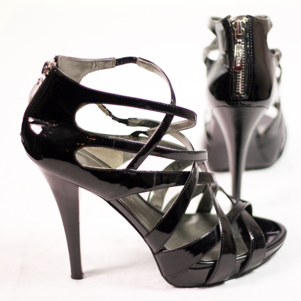 GUESS Black Patent Leather Gladiator