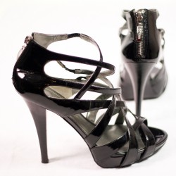 Black Guess 9 Leather Size Patent Gladiator Strappy Platform Heels DH29WIE