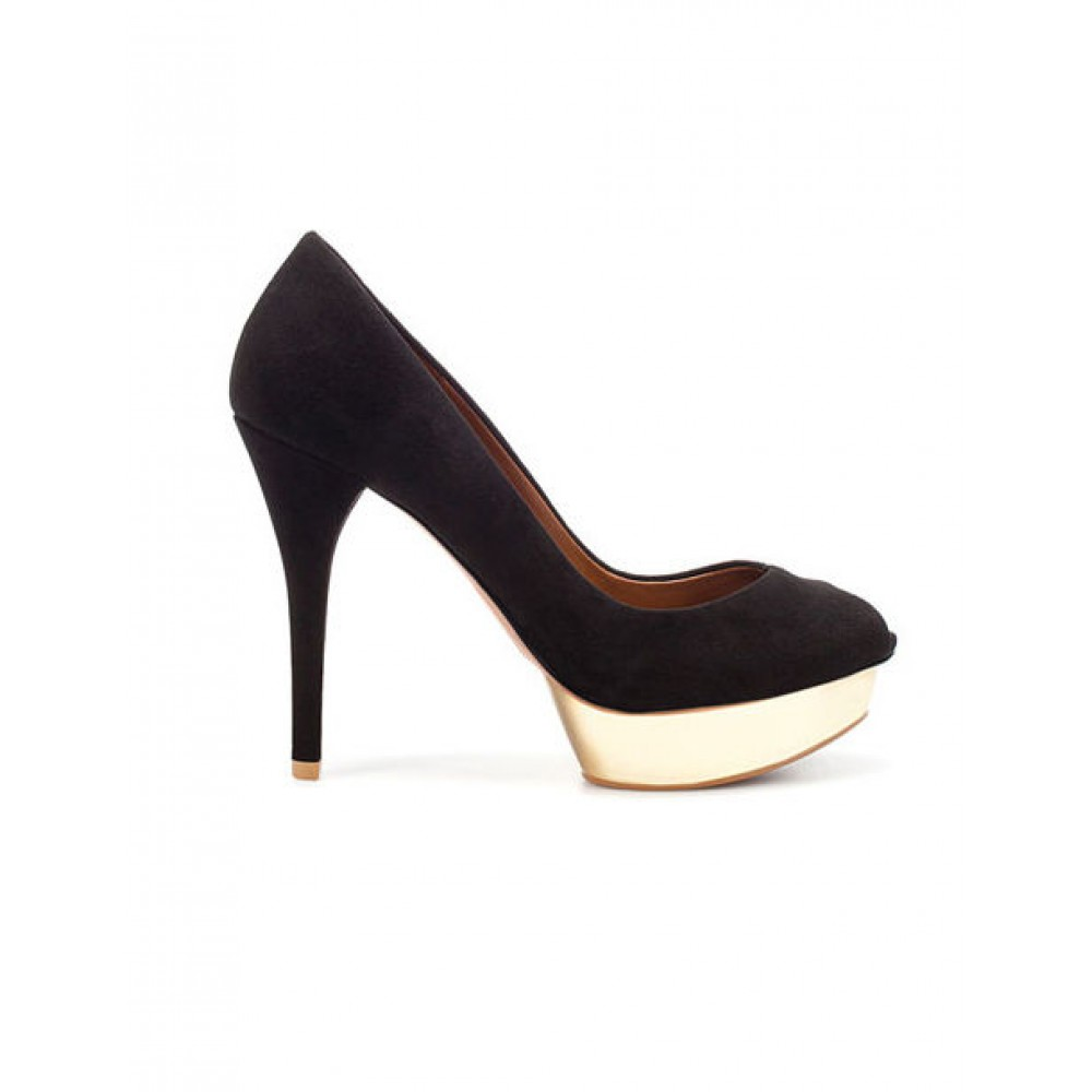 6440c3393f0 Zara Black Suede Peep Toe Pumps with Gold Platform Size 39